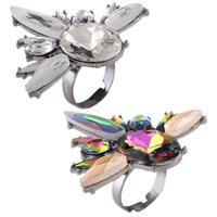 цинковый сплав Открыть палец кольцо, с Кристаллы, Платиновое покрытие платиновым цвет, Женский & граненый & со стразами, Много цветов для выбора, не содержит никель, свинец, 48x50mm, размер:8, продается PC