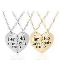 Ожерелье-пара, цинковый сплав, с железный цепи, с 5cm наполнитель цепи, Сердце, Другое покрытие, Овальный цепь & с письмо узором & для пара, Много цветов для выбора, не содержит свинец и кадмий, 31x28mm, длина:Приблизительно 17.5 дюймовый, продается Пара