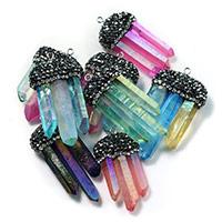 Подвески из кварца, Природный кварцевый, с клей & Латунь, плакирован серебром, Много цветов для выбора, 22-28x41-52x10-12mm, отверстие:Приблизительно 2mm, 5ПК/Лот, продается Лот