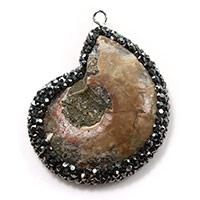 Colgante de piedras preciosas fósiles de amonita, Трубчатая ракушка, с клей & Латунь, Ракушка, плакирован серебром, природный, 31x41x8mm, отверстие:Приблизительно 2mm, 3ПК/Лот, продается Лот