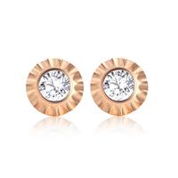 Титан Сталь серьги, титан, Плоская круглая форма, плакированный цветом розового золота, Женский & со стразами, 12x2.50x12mm, продается Пара