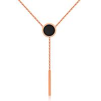 Ожерелье из ракушки, Нержавеющая сталь 316, с Черная ракушка, с 1.5Inch наполнитель цепи, Плоская круглая форма, плакированный цветом розового золота, Овальный цепь & Женский, 11mm,20mm,55mm, Продан через Приблизительно 16.5 дюймовый Strand
