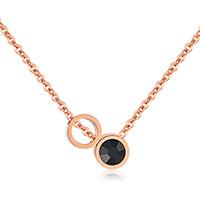 Ожерелье из кристаллов, Нержавеющая сталь 316, с Кристаллы, с 2.5Inch наполнитель цепи, Кольцевая форма, плакированный цветом розового золота, Овальный цепь & Женский & граненый, 7mm, Продан через Приблизительно 16.5 дюймовый Strand