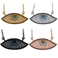 Кубический циркон микро проложить латуни ожерелье, Латунь, с 2Inch наполнитель цепи, Глаз, Другое покрытие, Овальный цепь & инкрустированное микро кубического циркония & Женский, Много цветов для выбора, 26.5x11mm, 1.5mm, длина:Приблизительно 18.5 дюймовый, 10пряди/Лот, продается Лот