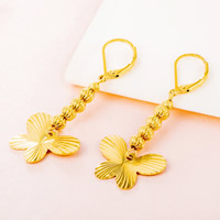 Латунь Leverback Серьга, бабочка, плакированный настоящим золотом, цветочный отрез, не содержит свинец и кадмий, 50mm, продается Пара