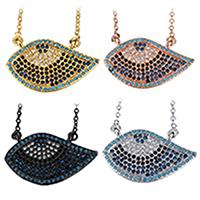 Кубический циркон микро проложить латуни ожерелье, Латунь, с 2Inch наполнитель цепи, Глаз, Другое покрытие, Овальный цепь & инкрустированное микро кубического циркония & Женский, Много цветов для выбора, 23.5x14mm, 1.5mm, длина:Приблизительно 18 дюймовый, 10пряди/Лот, продается Лот