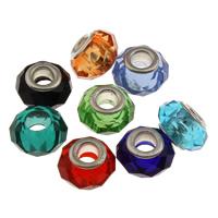 Бусины лэмпворк (стиль Европейская стиль), Лэмпворк, Связанный вручную, латунные Двухместный ядро без Тролль, разноцветный, 14x9mm, отверстие:Приблизительно 5mm, продается PC