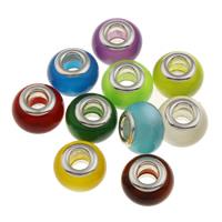 Бусины лэмпворк (стиль Европейская стиль), Лэмпворк, Круглая, Связанный вручную, латунные Двухместный ядро без Тролль, разноцветный, 13.5x9mm, отверстие:Приблизительно 5mm, продается PC