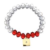 Кристалл браслеты, нержавеющая сталь, с Кристаллы, Замок, плакирован золотом, браслет-оберег & Женский & граненый & со стразами, 12x14mm, 8x10mm, Продан через Приблизительно 6 дюймовый Strand
