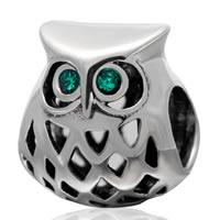 Бусины Европейская стиль из серебра 925 пробы, Серебро 925 пробы, Сова, с 925 логотипом & со стразами & чернеют, 8.5x8.9x9.8mm, отверстие:Приблизительно 4.5mm, продается PC