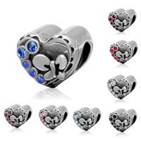 Бусины Европейская стиль из серебра 925 пробы, Серебро 925 пробы, Сердце, с 925 логотипом & со стразами & чернеют, Много цветов для выбора, 10.02x8.7x10.8mm, отверстие:Приблизительно 4.2mm, продается PC
