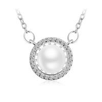 Природное пресноводное жемчужное ожерелье, Серебро 925 пробы, с жемчуг & кубический цирконий, Другое покрытие, Женский, не содержит никель, 11x11mm, Продан через Приблизительно 19 дюймовый Strand