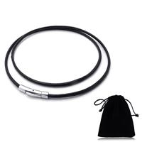 шнур ожерелье, Шнур из натуральной кожи, с Бархат, нержавеющая сталь Замочек 'штык', различной длины для выбора, черный, 3mm, продается Strand