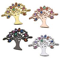 Цирконий Micro Pave Латунный разъем, Латунь, Дерево, Другое покрытие, инкрустированное микро кубического циркония & 1/1 петля & отверстие, Много цветов для выбора, 16x12.50x1.50mm, отверстие:Приблизительно 0.5mm, 20ПК/Лот, продается Лот