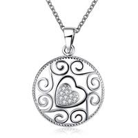 Кубический циркон микро проложить латуни ожерелье, Латунь, Плоская круглая форма, плакирован серебром, Овальный цепь & инкрустированное микро кубического циркония & Женский, не содержит свинец и кадмий, 24x32mm, Продан через Приблизительно 17.5 дюймовый Strand