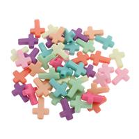 акриловые кулоны, Акрил, Kресты, разноцветный, 12x16x4mm, отверстие:Приблизительно 1.5mm, 500G/сумка, продается сумка