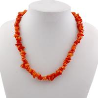 Коралловые ожерелья, Натуральный коралл, железо Замок-карабин, 7.5x6.5x5mm, отверстие:Приблизительно 1mm, длина:Приблизительно 16.5 дюймовый, 10пряди/сумка, продается сумка