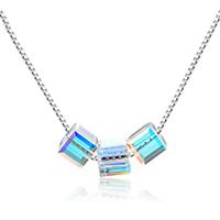 Ожерелье из кристаллов, Серебро 925 пробы, с Кристаллы, с 1.2lnch наполнитель цепи, Куб, покрытый платиной, Цепной ящик & Женский & граненый, 4x4mm, длина:Приблизительно 15.7 дюймовый, 3пряди/Лот, продается Лот