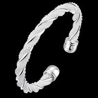 Латунь браслет-манжеты, плакирован серебром, Женский, не содержит свинец и кадмий, 65mm, внутренний диаметр:Приблизительно 65mm, длина:Приблизительно 8 дюймовый, продается PC