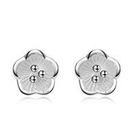 Серьги из серебра, Серебро 925 пробы, Форма цветка, покрытый платиной, Женский, 6x6mm, 3Пары/Лот, продается Лот
