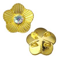 Цирконий Micro Pave Латунный разъем, Латунь, Форма цветка, плакированный настоящим золотом, инкрустированное микро кубического циркония & петля 2/2 & чеканная, 16x16x8mm, отверстие:Приблизительно 1.5mm, 500ПК/Лот, продается Лот