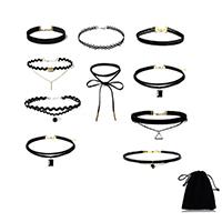 Готический ожерелье, цинковый сплав, с Кружево & шерстяной шнур, с 2.7inch наполнитель цепи, Другое покрытие, Женский, длина:Приблизительно 11.8 дюймовый, 10пряди/указан, продается указан