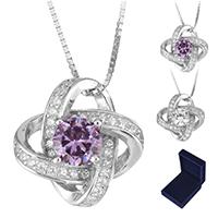 Ожерелье из кристаллов, Серебро 925 пробы, с Кристаллы, покрытый платиной, Цепной ящик & Женский & с кубическим цирконием & граненый, Много цветов для выбора, 15x15mm, Продан через Приблизительно 18 дюймовый Strand