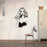 Наклейки на стену, PVC-пластик, Девочка, водонепроницаемый, 570x790mm, продается указан