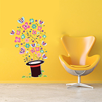 Наклейки на стену, PVC-пластик, с рисунками бабочки & с цветочным узором & водонепроницаемый, 500x700mm, продается указан