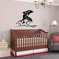 Наклейки на стену, PVC-пластик, Дельфин, водонепроницаемый, Много цветов для выбора, 570x780mm, продается указан