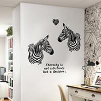 Наклейки на стену, PVC-пластик, Зебра, с рисунками сердца & с письмо узором & водонепроницаемый, 600x900mm, продается указан