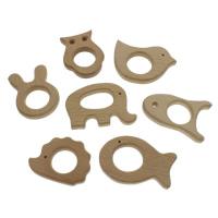 Деревянные Подвески, деревянный, Животное, разные стили для выбора, 60x46x10mm, 76x56x10mm, отверстие:Приблизительно 2-6mm, 100ПК/сумка, продается сумка