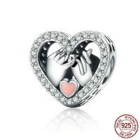 Таиланд бусины Европейская стиль, Сердце, инкрустированное микро кубического циркония & без Тролль & эмаль, 13x13mm, отверстие:Приблизительно 4.5mm, продается PC