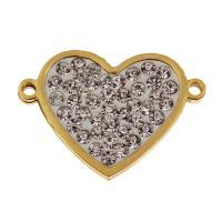 Соединители из нержавеющей стали, нержавеющая сталь, Сердце, плакирован золотом, со стразами & 1/1 петля, оригинальный цвет, 25x17.50x3mm, отверстие:Приблизительно 2mm, 10ПК/сумка, продается сумка