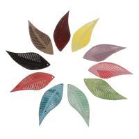 шерстяной шнур подвеска, Листок, Много цветов для выбора, 16x44mm, отверстие:Приблизительно 1mm, 100ПК/сумка, продается сумка