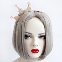 Резинки для волос, Войлок, с Канифольные кристаллы & Железо & цинковый сплав, Корона, плакированный цветом под старое серебро, с письмо узором & Женский, 120x60mm, продается PC