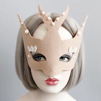 Fashion Party Mask, Войлок, с Кружево & Сатиновая лента & Пластиковая жемчужина, Хэллоуин ювелирные изделия & Женский, 400mm, продается PC