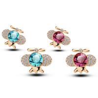 Кольца с кристаллами, цинковый сплав, с Кристаллы, Насекомое, плакирован золотом, Женский & со стразами, Много цветов для выбора, 14x17mm, продается Пара