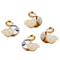 Кольца с кристаллами, цинковый сплав, с Кристаллы, Лебедь, Другое покрытие, Женский, Много цветов для выбора, 10x11mm, продается Пара