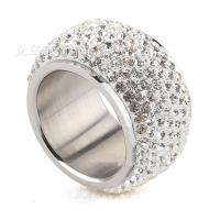 Пальцевидное Кольцо Титановой Стали, титан, разный размер для выбора & Женский & со стразами, оригинальный цвет, 12mm, продается PC
