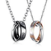 Ожерелье-пара, титан, с 50mm наполнитель цепи, кольцо форма, Другое покрытие, Овальный цепь & разные стили для выбора & с письмо узором & для пара & со стразами, 19.5x6x3mm,18x4x3mm, Продан через Приблизительно 21.6 дюймовый, Приблизительно 17.7 дюймовый Strand