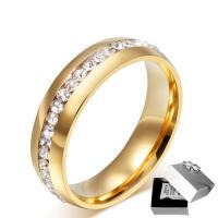 Пальцевидное Кольцо Титановой Стали, титан, плакирован золотом, Женский & со стразами, 6mm, продается PC