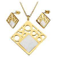 Серьги из ракушки, серьги & ожерелье, нержавеющая сталь, с Белая ракушка, с 2.5Inch наполнитель цепи, Ромбическая форма, плакирован золотом, Овальный цепь & Женский, 36x42mm, 2mm, 16x16mm, длина:Приблизительно 18 дюймовый, продается указан
