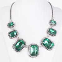 Кристалл ожерелье с цинковым сплавом, цинковый сплав, с Кристаллы, с 8cm наполнитель цепи, Платиновое покрытие платиновым цвет, Женский & граненый, не содержит свинец и кадмий, 190mm, Продан через Приблизительно 18.5 дюймовый Strand