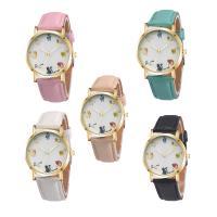 Часы унисекс, с Стеклянный & нержавеющая сталь & цинковый сплав, плакирован золотом, Мужская, Много цветов для выбора, 37x7mm, длина:Приблизительно 9 дюймовый, продается PC
