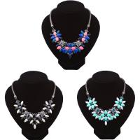 Кристалл ожерелье с цинковым сплавом, цинковый сплав, с Кристаллы, с 2inch наполнитель цепи, Другое покрытие, змея цепи & Женский & граненый & со стразами, Много цветов для выбора, не содержит никель, свинец, Продан через Приблизительно 17.7 дюймовый Strand