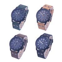 Часы унисекс, Искусственная кожа, с Стеклянный & цинковый сплав, черный покрытием, Мужская, Много цветов для выбора, 43x9mm, длина:Приблизительно 9 дюймовый, продается PC