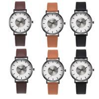 Часы унисекс, Искусственная кожа, с Стеклянный & нержавеющая сталь & цинковый сплав, черный покрытием, Мужская, Много цветов для выбора, 38x8mm, длина:Приблизительно 8.5 дюймовый, продается PC