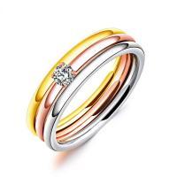 Пальцевидное Кольцо Титановой Стали, титан, Другое покрытие, разный размер для выбора & Женский & с кубическим цирконием, 4mm, продается PC