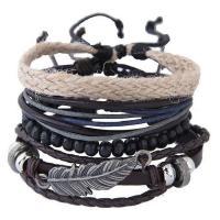Нейлоновый шнурок Комбинированный браслет, лист, с деревянный & Пластик с медным покрытием & цинковый сплав, Другое покрытие, Женский, 175mm, Продан через Приблизительно 6.5 дюймовый Strand